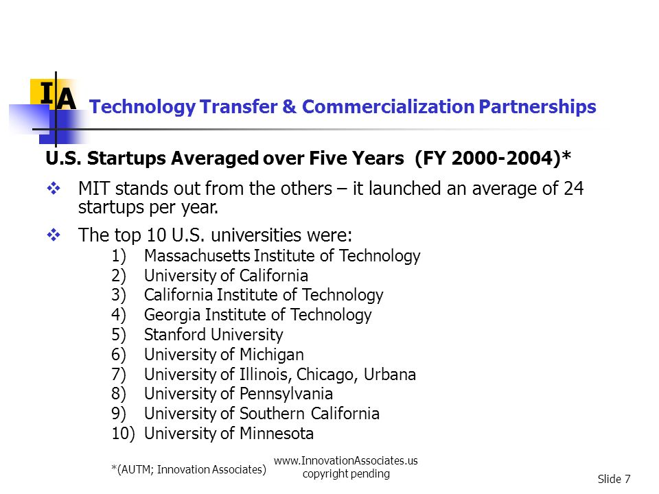 www.InnovationAssociates.us copyright pending Slide 8 Technology Transfer & Commercialization Partnerships We get a different picture when we take into account research expenditures.