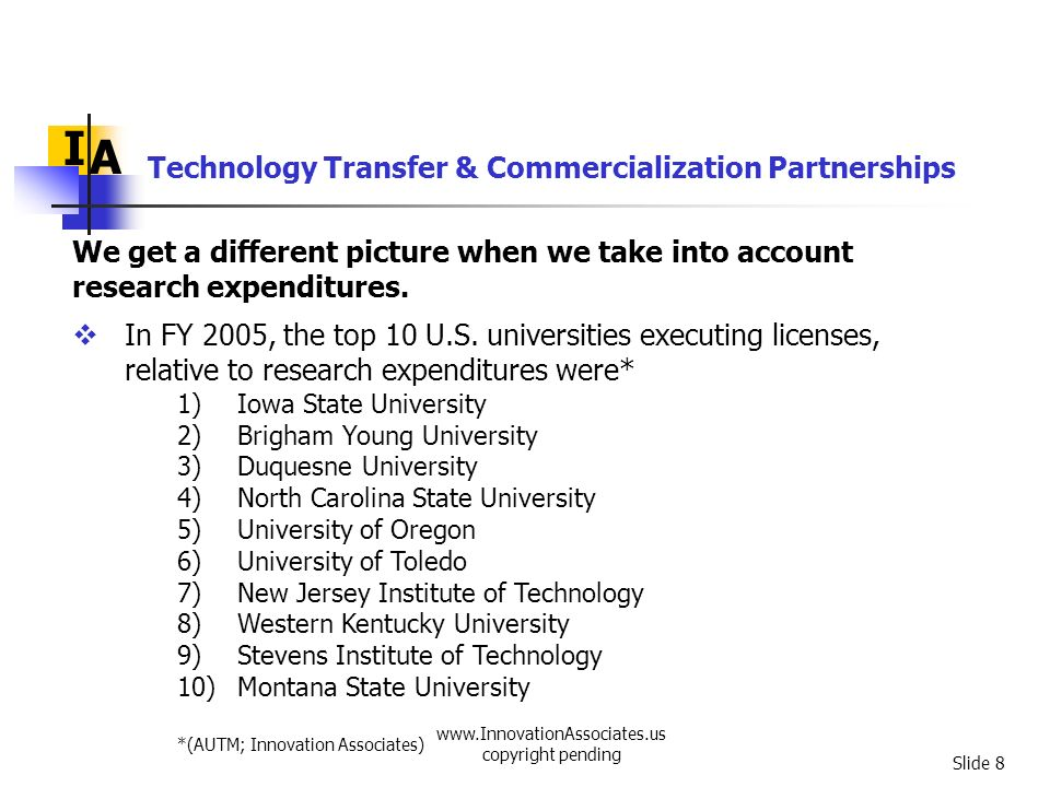 www.InnovationAssociates.us copyright pending Slide 9 Technology Transfer & Commercialization Partnerships I A In FY 2005, the top 10 U.S.