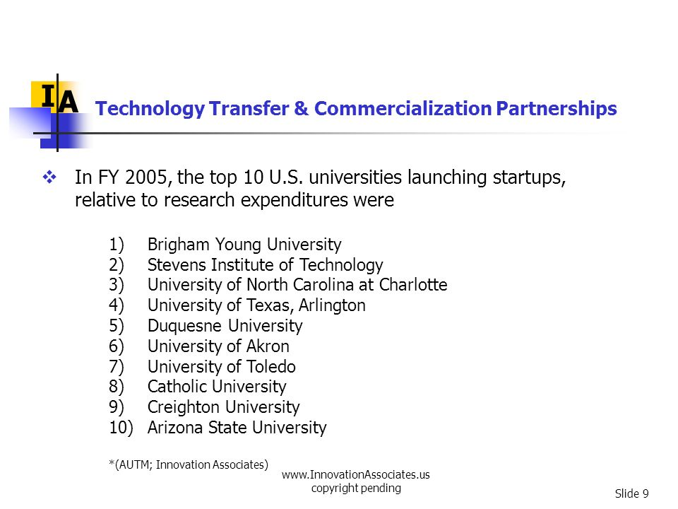 www.InnovationAssociates.us copyright pending Slide 30 I A Create incentives to stimulate early-stage capital investments, particularly in areas that now have little access to such capital Educate academic institutions, state legislatures, corporations, and others regarding technology transfer Develop better metrics to guide institutions and policy makers Collect, evaluate and disseminate best practices Technology Transfer & Commercialization Partnerships
