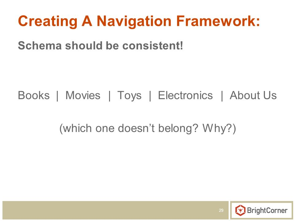 29 Creating A Navigation Framework: Schema should be consistent.