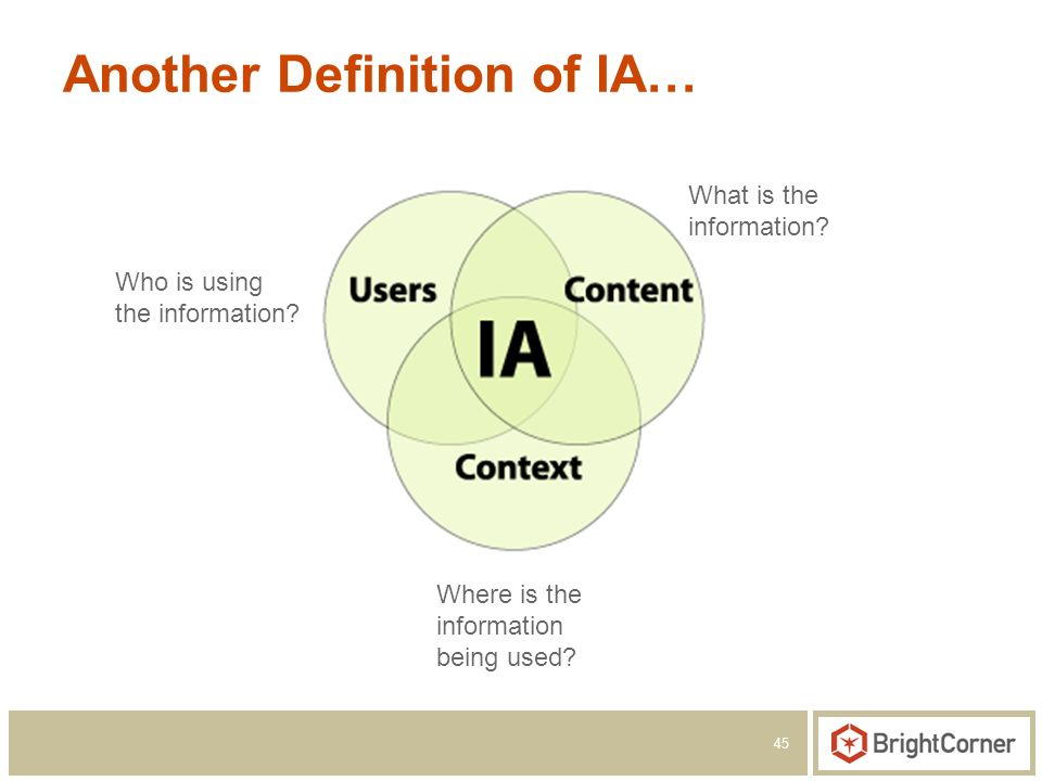 45 Another Definition of IA… Who is using the information.