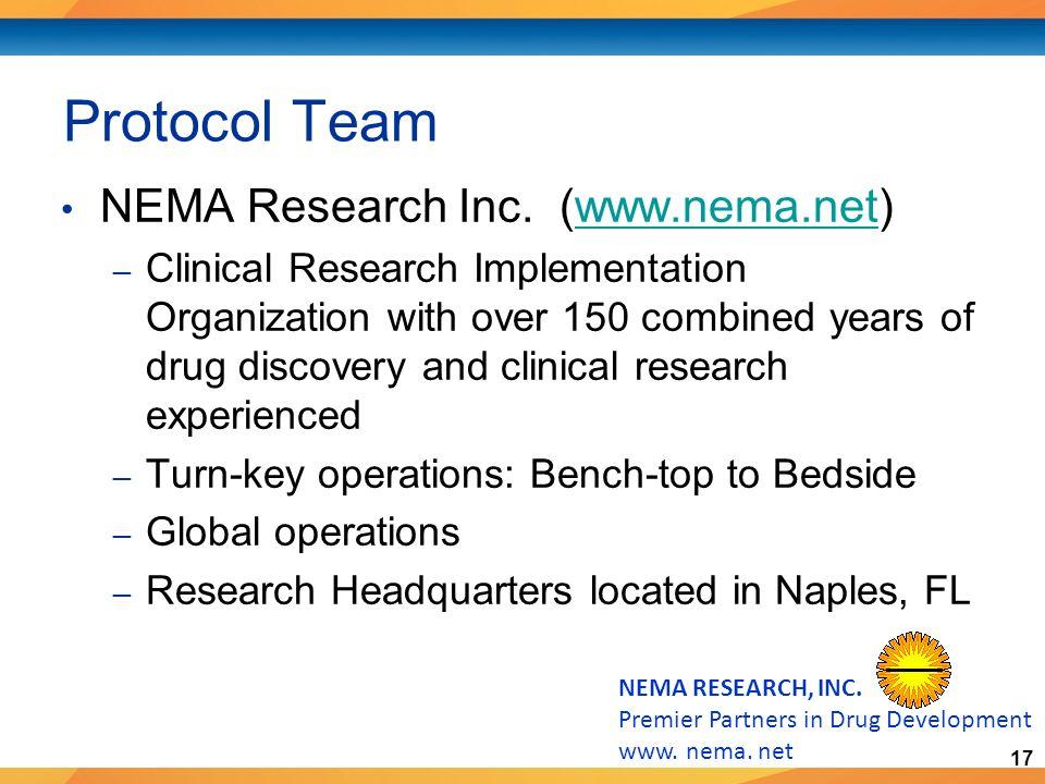 17 NEMA RESEARCH, INC. Premier Partners in Drug Development www.
