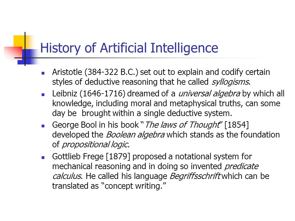 History of Artificial Intelligence Aristotle (384-322 B.C.) set out to explain and codify certain styles of deductive reasoning that he called syllogisms.