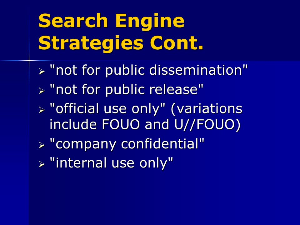 Search Engine Strategies Cont.