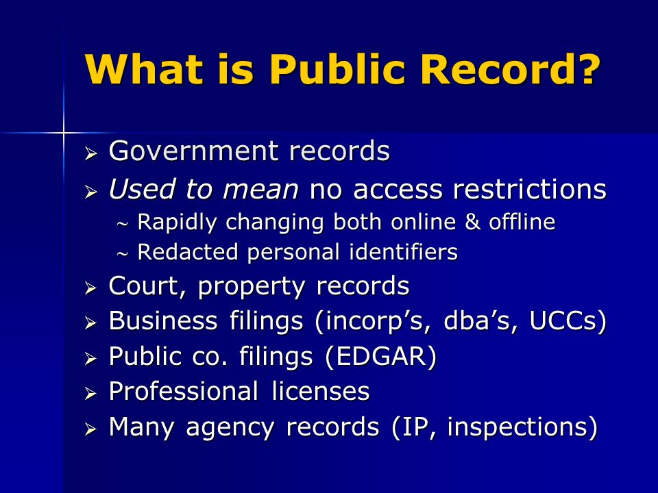 Public Records Research: Company Research and Business People