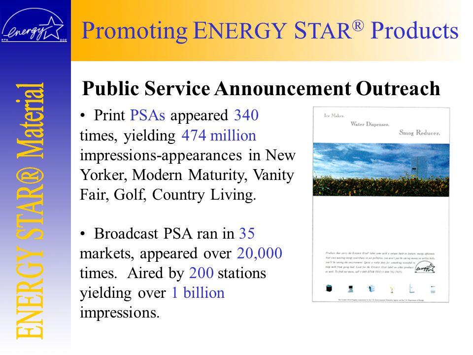 Public Service Announcement Outreach Print PSAs appeared 340 times, yielding 474 million impressions-appearances in New Yorker, Modern Maturity, Vanit