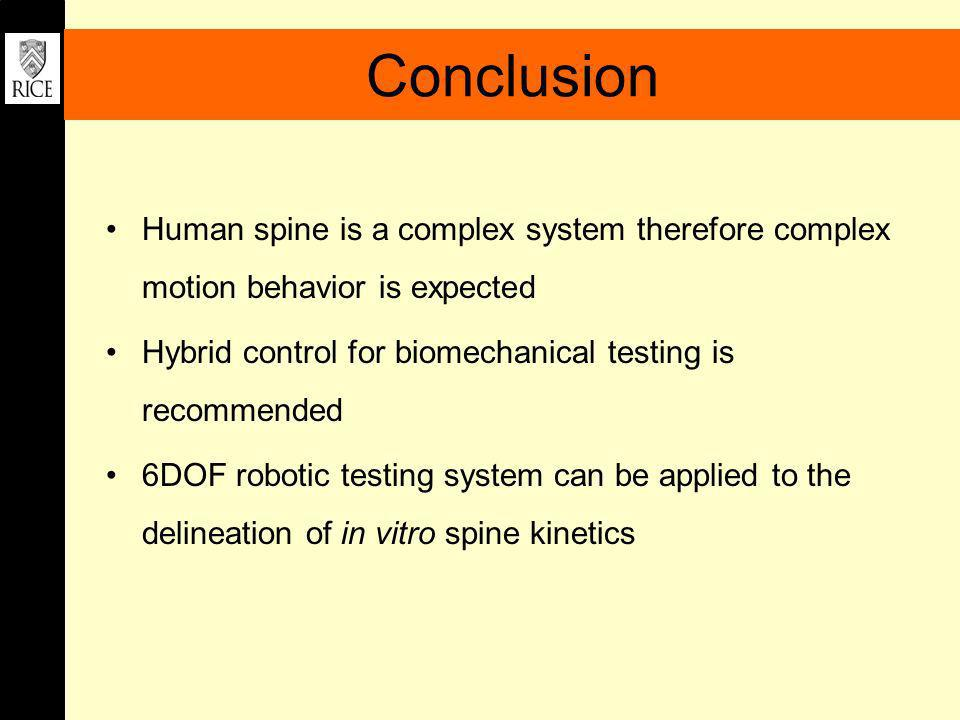 Conclusion Human spine is a complex system therefore complex motion behavior is expected Hybrid control for biomechanical testing is recommended 6DOF