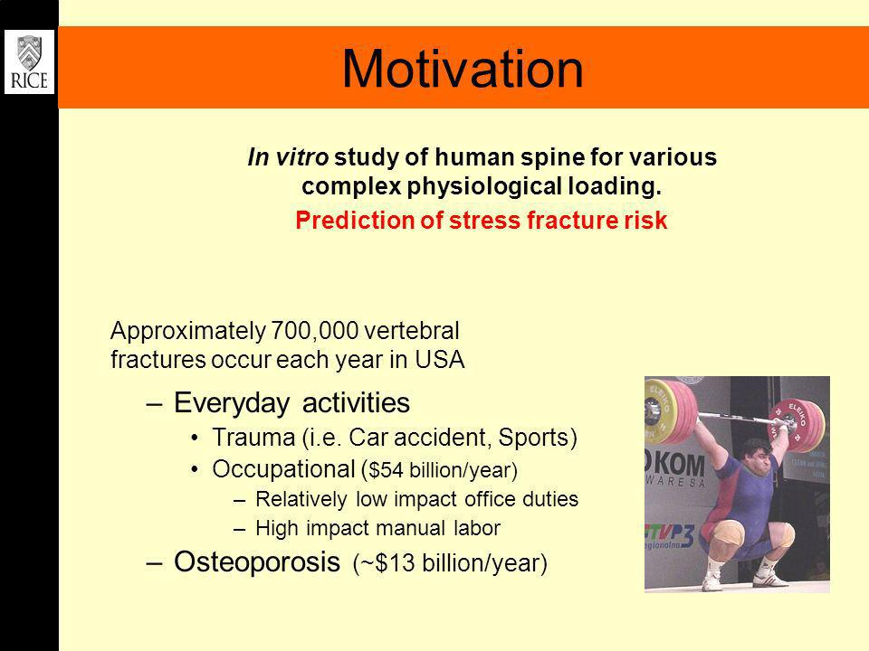 Motivation –Everyday activities Trauma (i.e. Car accident, Sports) Occupational ( $54 billion/year) –Relatively low impact office duties –High impact