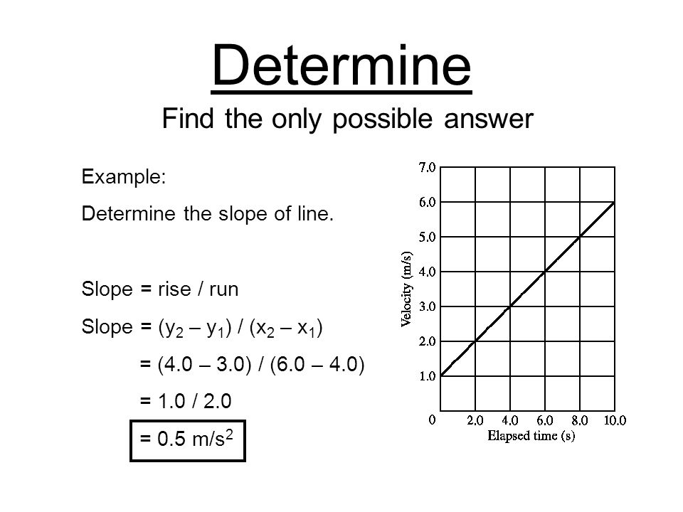 Determine Find the only possible answer Example: Determine the slope of line.