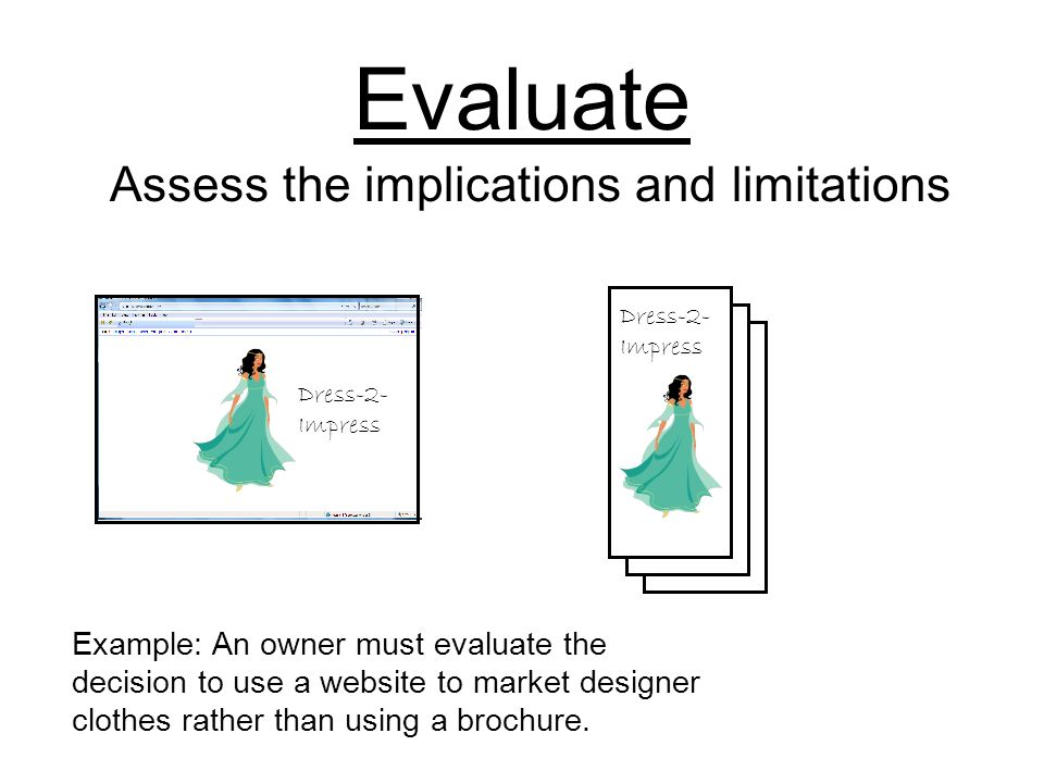 Evaluate Assess the implications and limitations Example: An owner must evaluate the decision to use a website to market designer clothes rather than using a brochure.