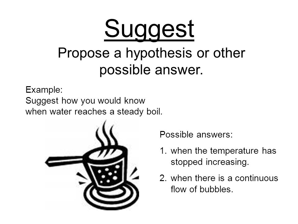 Suggest Propose a hypothesis or other possible answer.