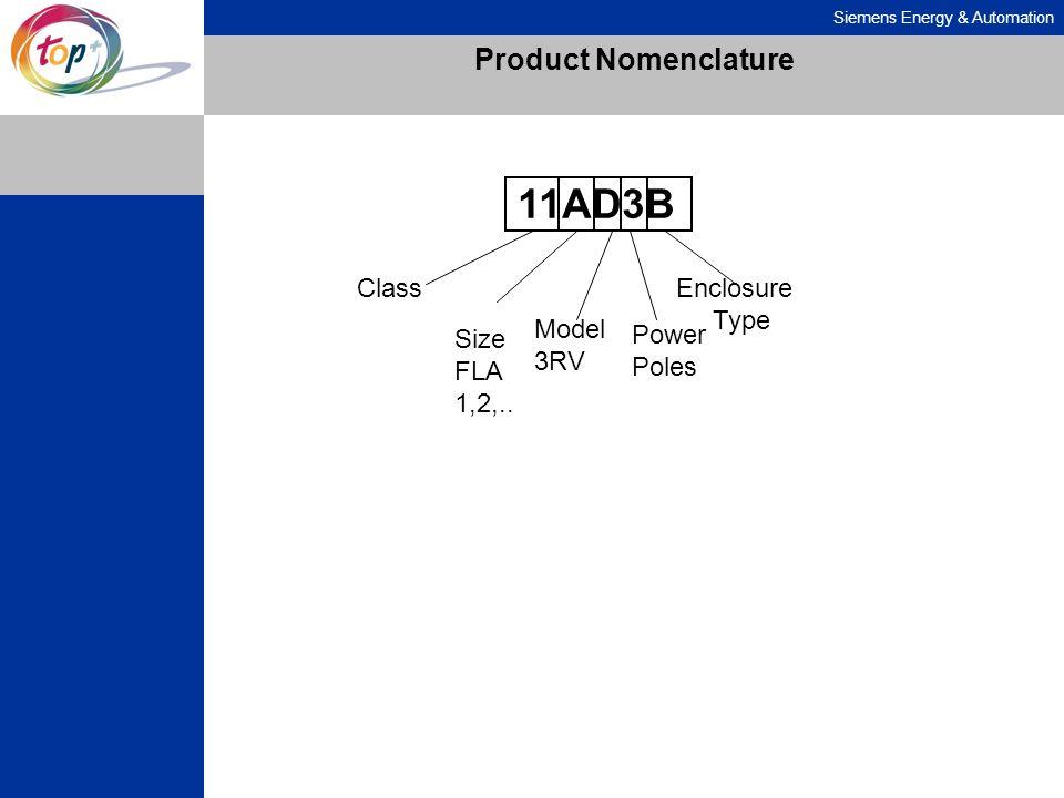 Siemens Energy & Automation Product Nomenclature 11AD3B Class Size FLA 1,2,.. Model 3RV Power Poles Enclosure Type
