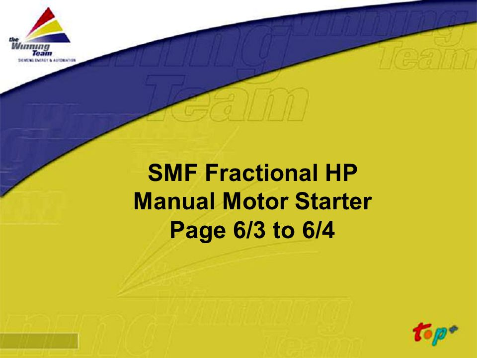 Siemens Energy & Automation SMF Fractional HP Manual Motor Starter Page 6/3 to 6/4