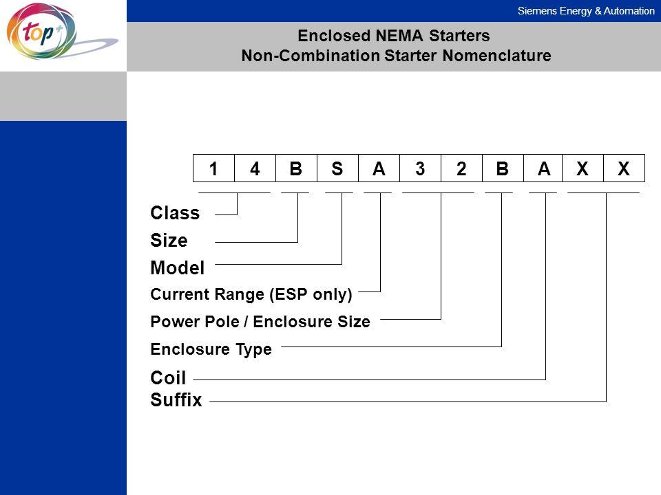 Siemens Energy & Automation Enclosed NEMA Starters Non-Combination Starter Nomenclature 14BSA32BA Class Coil Size Model Current Range (ESP only) Power