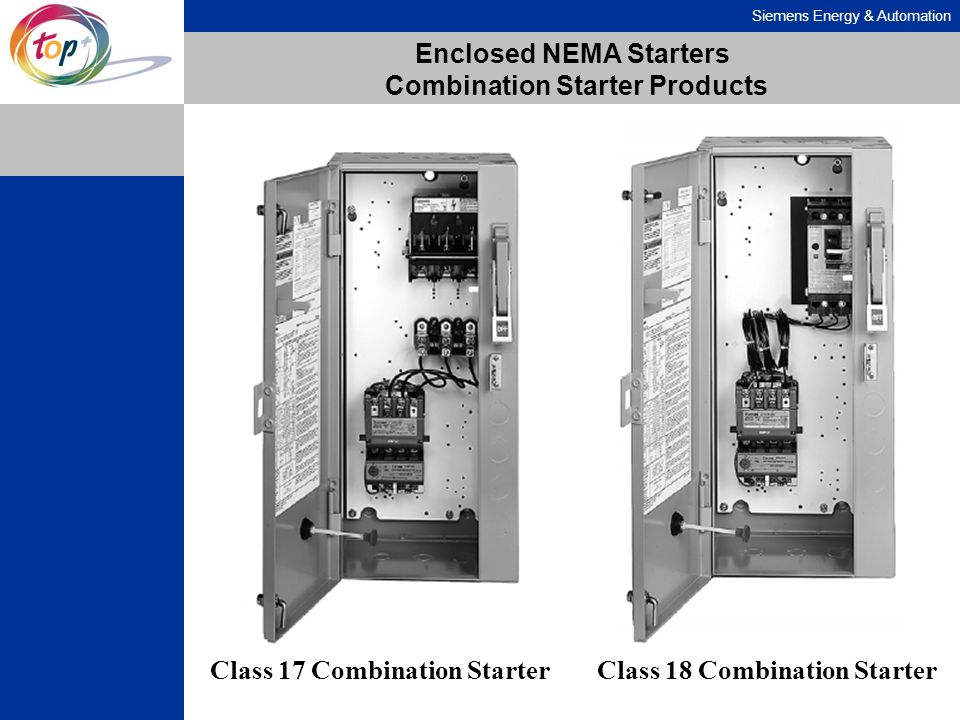 Siemens Energy & Automation Enclosed NEMA Starters Combination Starter Products Class 17 Combination StarterClass 18 Combination Starter