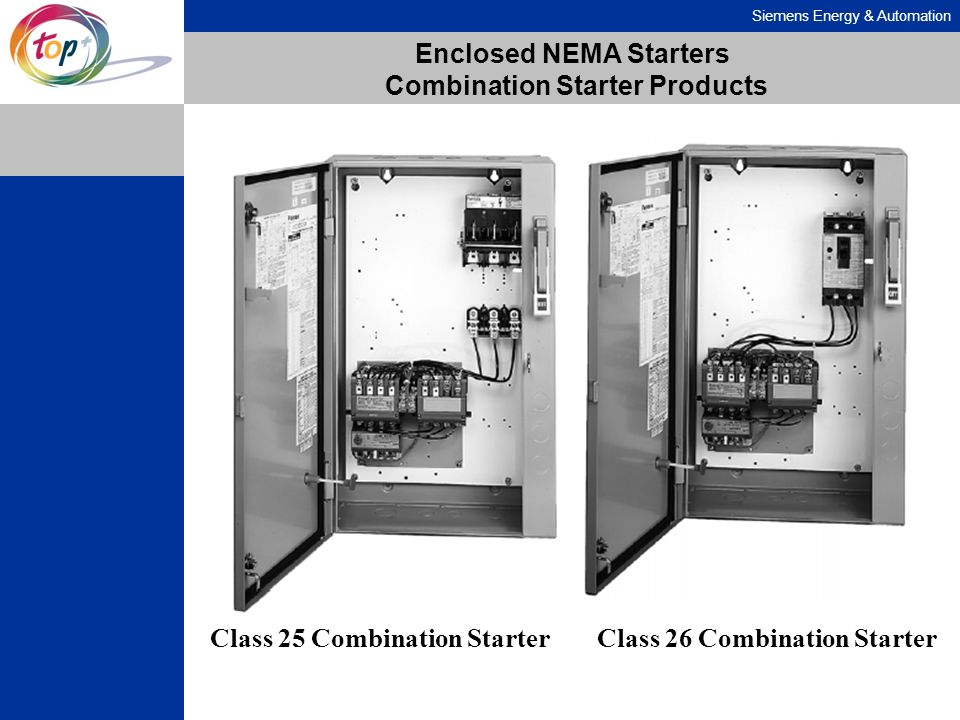 Siemens Energy & Automation Enclosed NEMA Starters Combination Starter Products Class 25 Combination StarterClass 26 Combination Starter