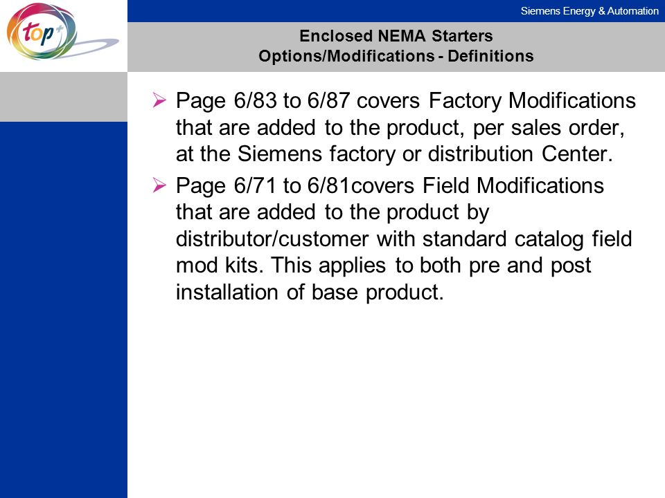 Siemens Energy & Automation Enclosed NEMA Starters Options/Modifications - Definitions Page 6/83 to 6/87 covers Factory Modifications that are added t