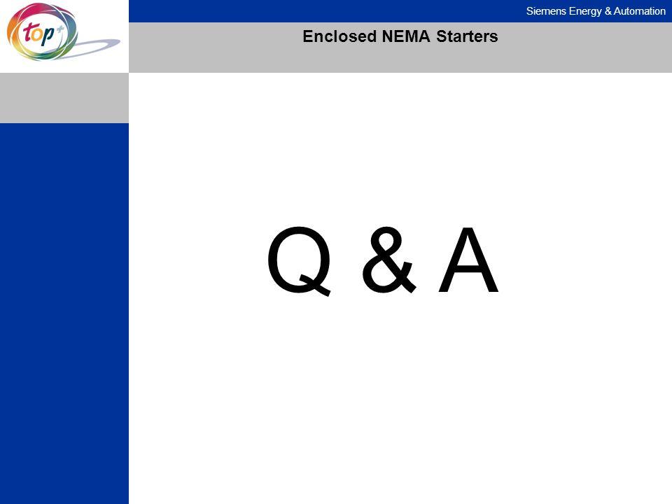 Siemens Energy & Automation Enclosed NEMA Starters Q & A