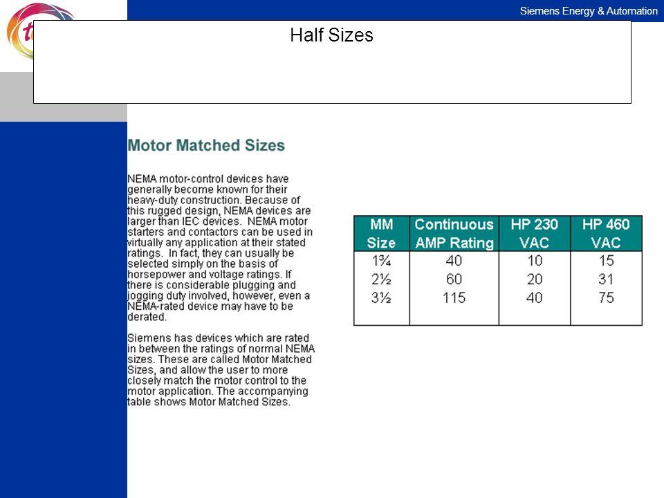 Siemens Energy & Automation Half Sizes
