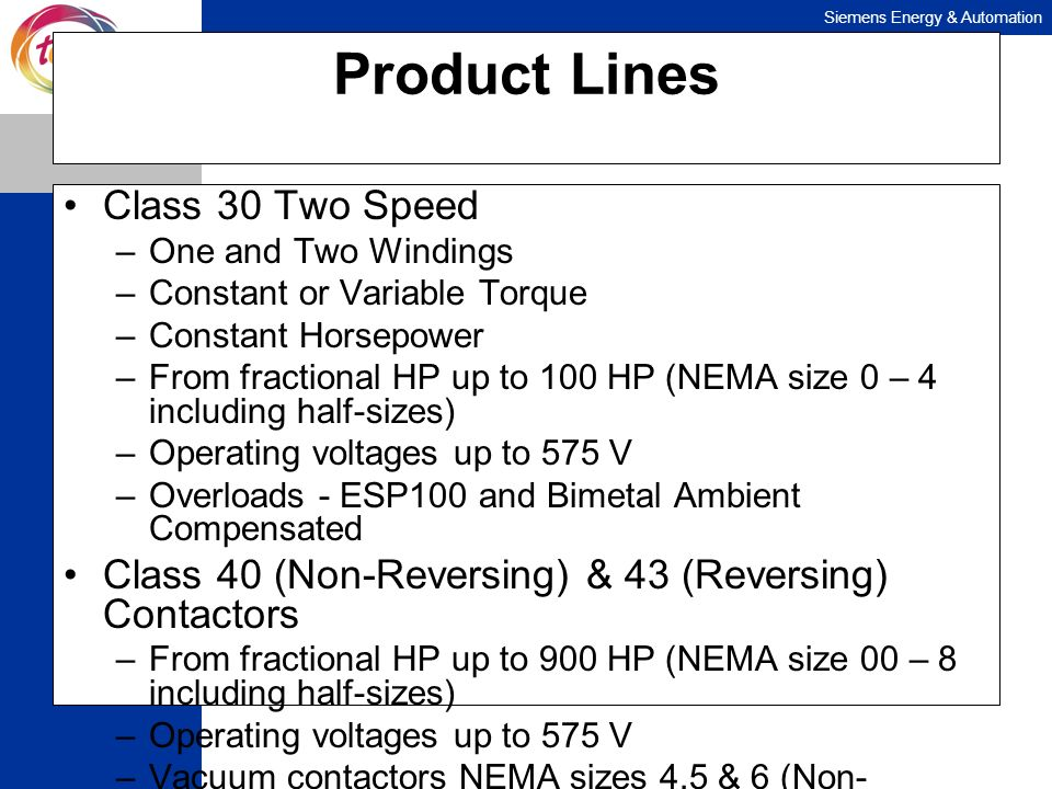 Siemens Energy & Automation Product Lines Class 30 Two Speed –One and Two Windings –Constant or Variable Torque –Constant Horsepower –From fractional
