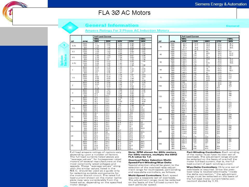 Siemens Energy & Automation FLA 3Ø AC Motors