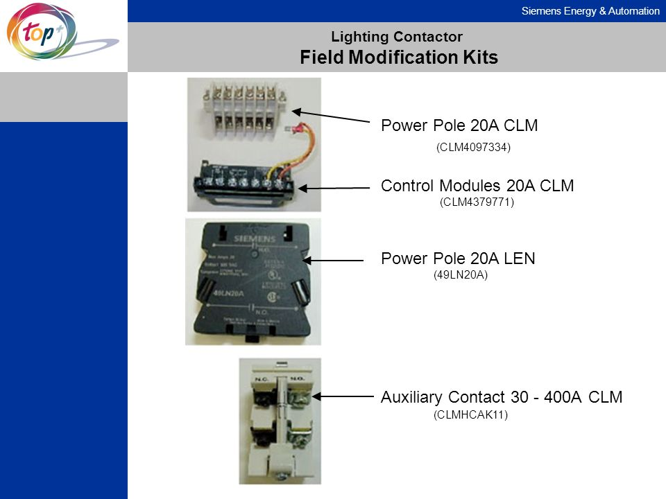 Siemens Energy & Automation Lighting Contactor Field Modification Kits Power Pole 20A CLM (CLM4097334) Control Modules 20A CLM (CLM4379771) Power Pole