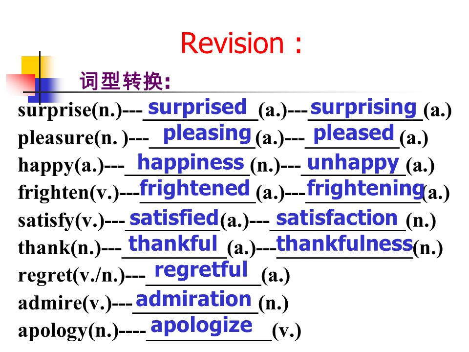 Revision : : surprise(n.)---___________(a.)---___________(a.) pleasure(n.