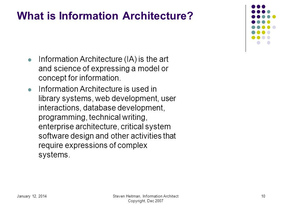 January 12, 2014Steven Heitman, Information Architect Copyright, Dec 2007 9 What is Information Architecture.