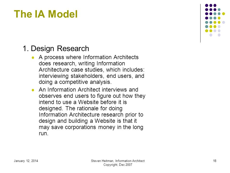 January 12, 2014Steven Heitman, Information Architect Copyright, Dec 2007 17 The IA Model Overview of The IA Model: 1.