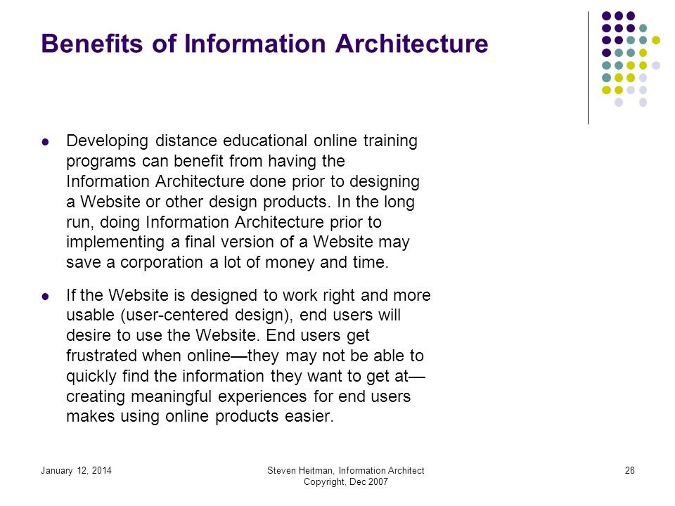 January 12, 2014Steven Heitman, Information Architect Copyright, Dec 2007 27 Information Architecture for Websites The Information Architect does research usually accomplished by first doing a needs assessment or competitive analysis commonly using methods of design research procedures (design plan, wire frame mockups, flow chart).