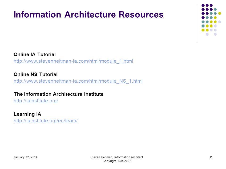 January 12, 2014Steven Heitman, Information Architect Copyright, Dec 2007 30 Sources Fleming, J. (1998). Web Navigation Designing the User Experience.
