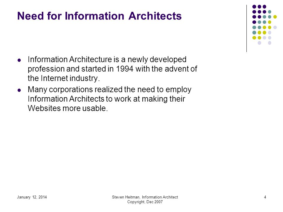 January 12, 2014Steven Heitman, Information Architect Copyright, Dec 2007 3 Discussion about Information Architecture Information Architecture Curriculum How Does One Develop Information Architecture for a Website.