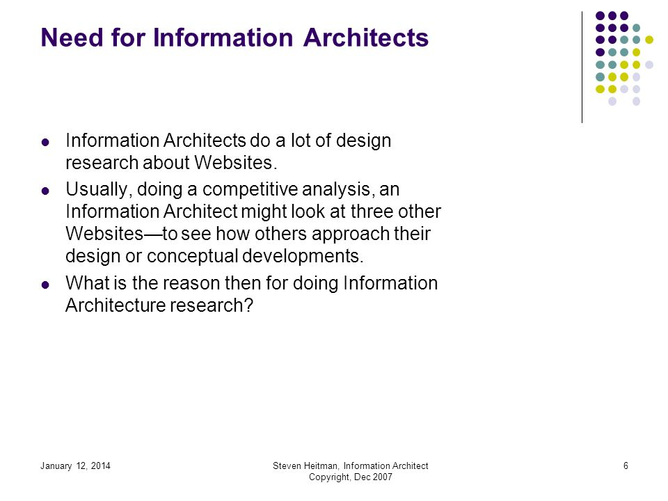 January 12, 2014Steven Heitman, Information Architect Copyright, Dec 2007 5 Need for Information Architects Information Architecture or Information Architect is commonly abbreviated as IA.