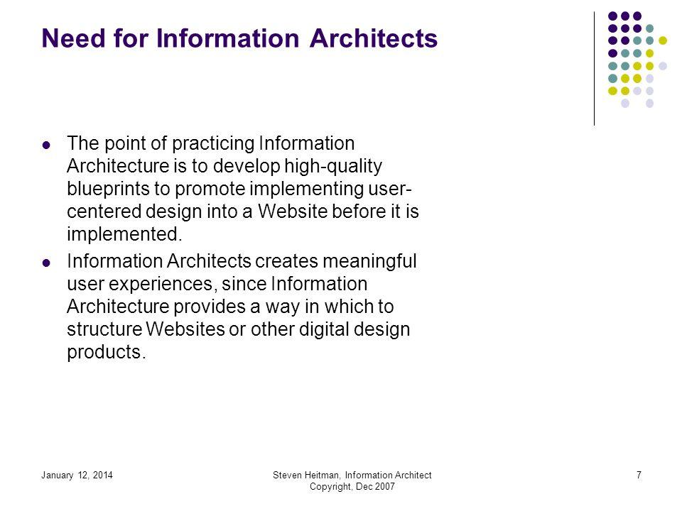 January 12, 2014Steven Heitman, Information Architect Copyright, Dec 2007 6 Need for Information Architects Information Architects do a lot of design