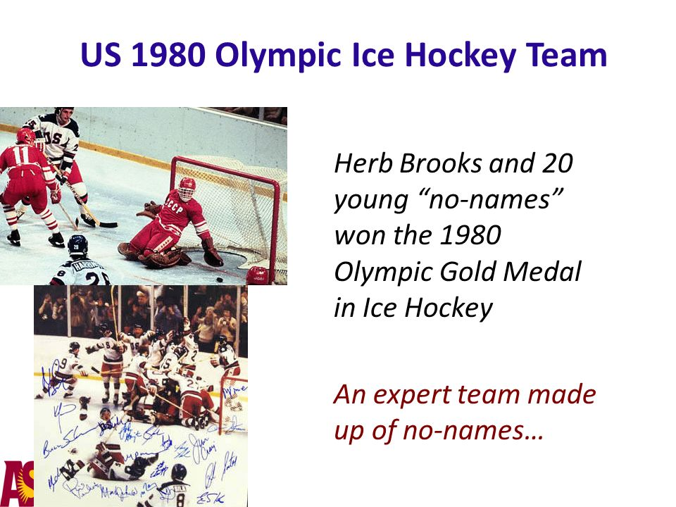 US 1980 Olympic Ice Hockey Team Herb Brooks and 20 young no-names won the 1980 Olympic Gold Medal in Ice Hockey An expert team made up of no-names…