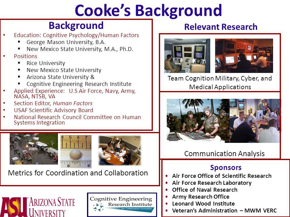 Background Education: Cognitive Psychology/Human Factors George Mason University, B.A. New Mexico State University, M.A., Ph.D. Positions Rice Univers