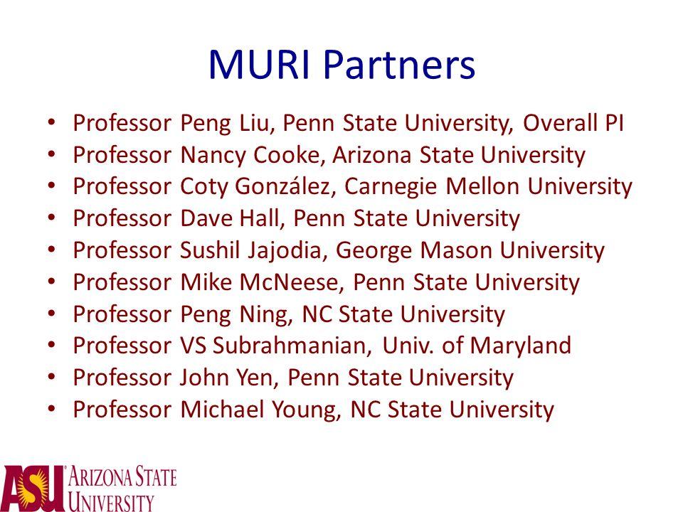 MURI Partners Professor Peng Liu, Penn State University, Overall PI Professor Nancy Cooke, Arizona State University Professor Coty González, Carnegie