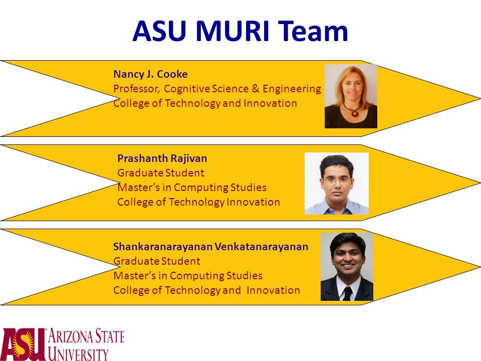 ASU MURI Team Nancy J. Cooke Professor, Cognitive Science & Engineering College of Technology and Innovation Prashanth Rajivan Graduate Student Master