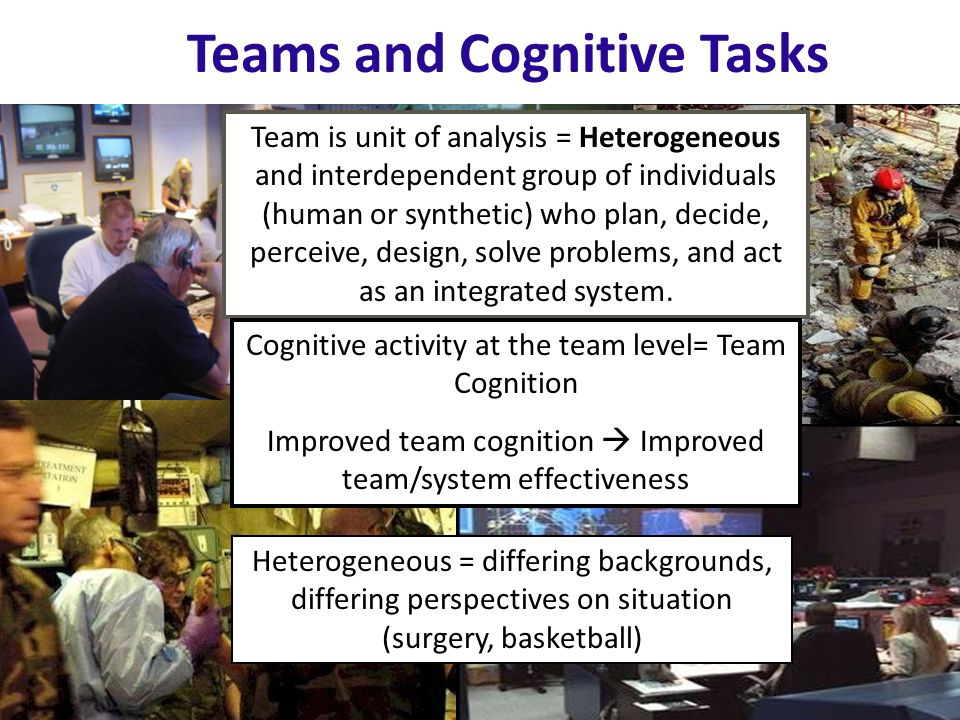 Teams and Cognitive Tasks Team is unit of analysis = Heterogeneous and interdependent group of individuals (human or synthetic) who plan, decide, perc