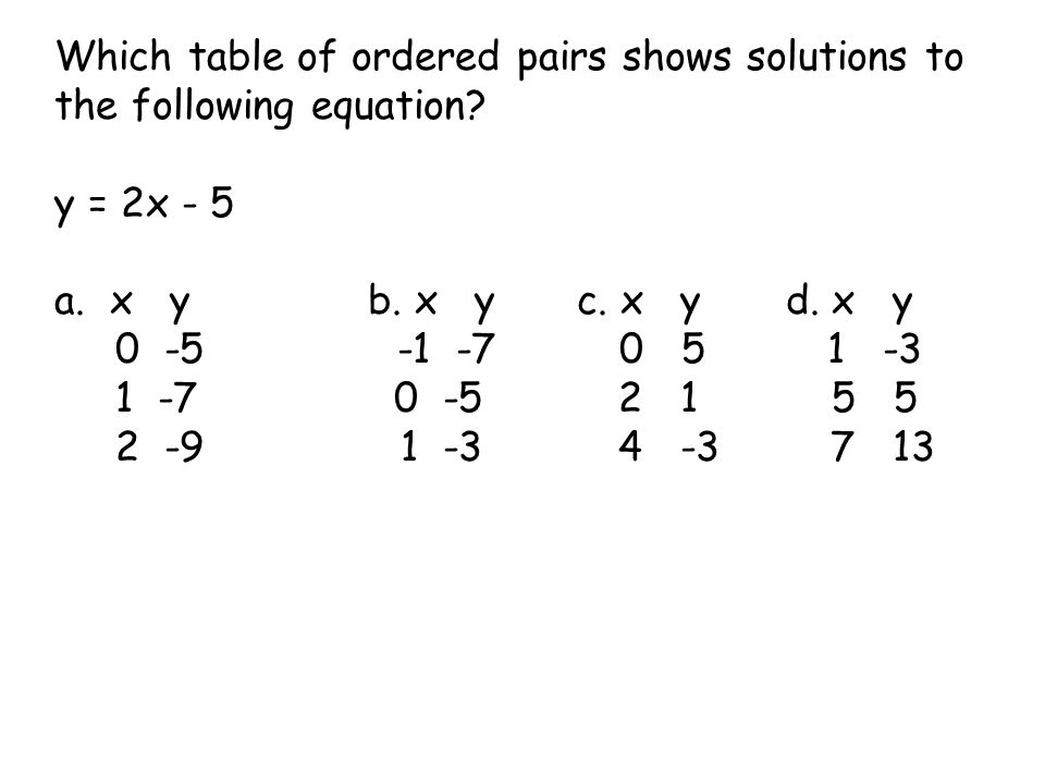 Which table of ordered pairs shows solutions to the following equation? y = 2x - 5 a. x yb. x yc. x yd. x y 0 -5 -1 -7 0 5 1 -3 1 -7 0 -5 2 1 5 5 2 -9
