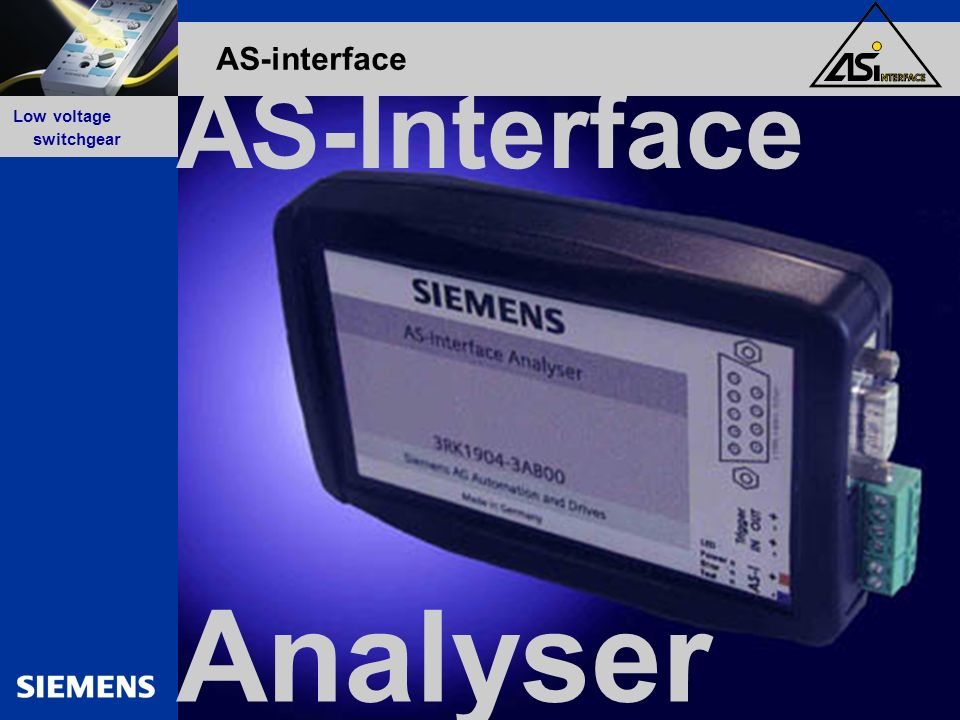 GG-Kennung oder Produktname Low voltage switchgear AS-interface Analyser AS-Interface