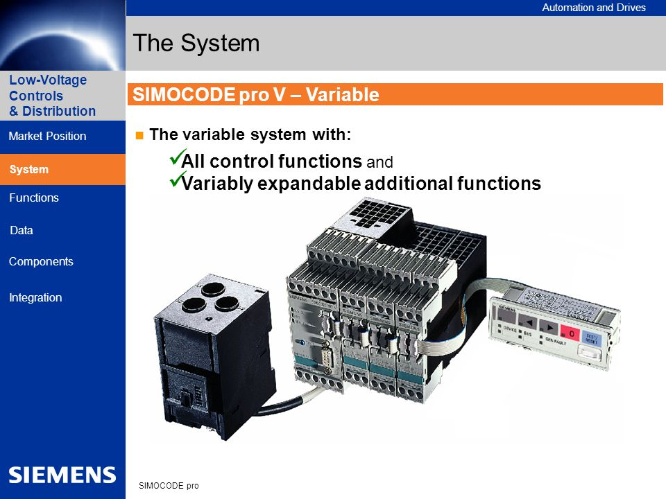 Automation and Drives SIMOCODE pro Low-Voltage Controls & Distribution Market Position System Data Functions Components Integration SIMOCODE pro V – V