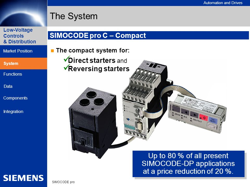 Automation and Drives SIMOCODE pro Low-Voltage Controls & Distribution Market Position System Data Functions Components Integration SIMOCODE pro C – C