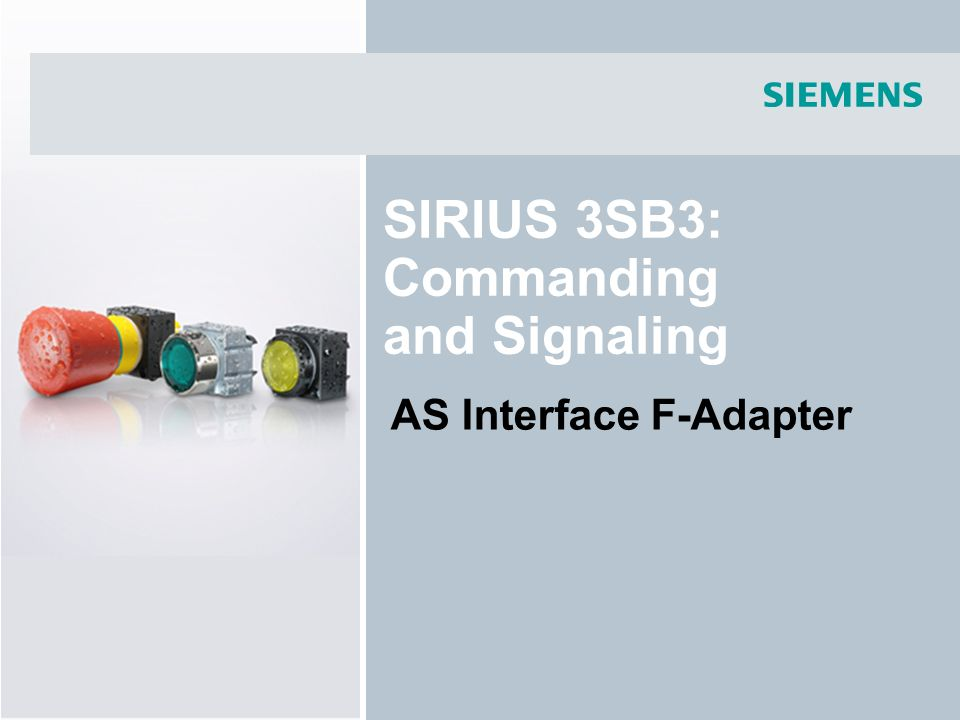 SIRIUS 3SB3: Commanding and Signaling AS Interface F-Adapter