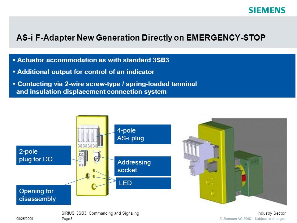 © Siemens AG 2008 – Subject to changes Industry SectorSIRIUS 3SB3: Commanding and Signaling 09/25/2009Page 3 Actuator accommodation as with standard 3