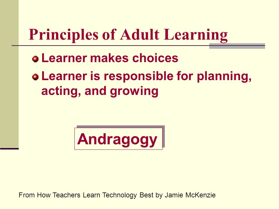 Principles of Adult Learning Learner makes choices Learner is responsible for planning, acting, and growing From How Teachers Learn Technology Best by Jamie McKenzie Andragogy