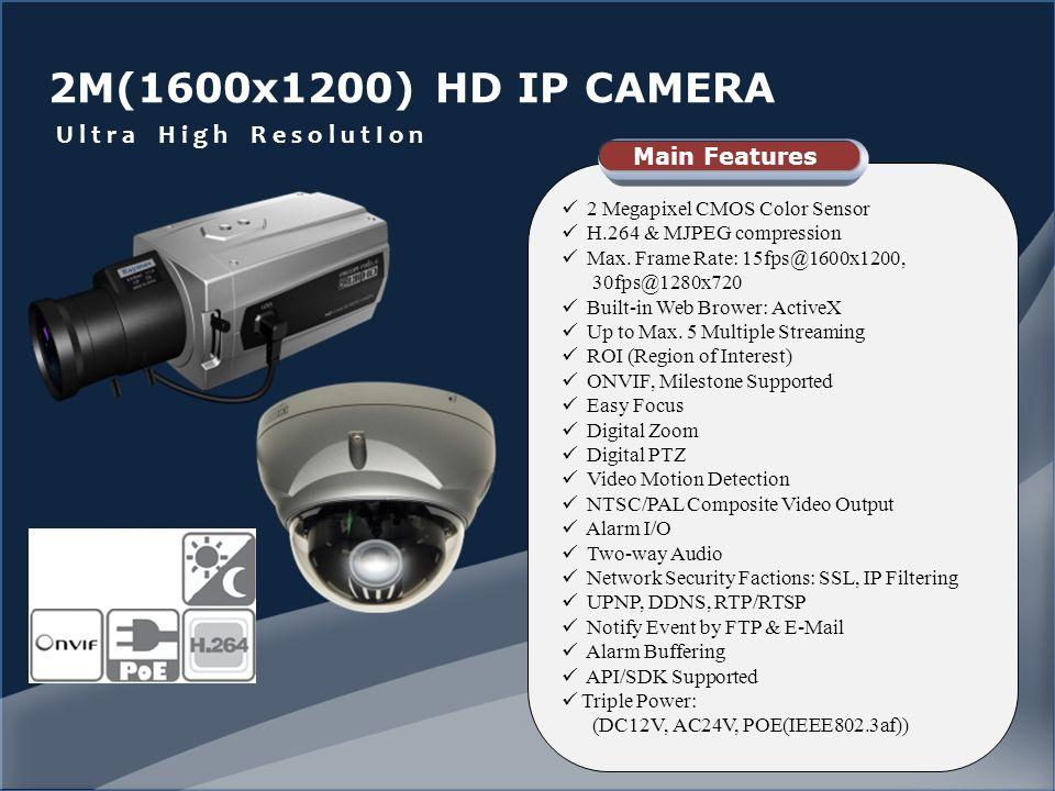 2M(1600x1200) HD IP CAMERA U l t r a H i g h R e s o l u t I o n 2 Megapixel CMOS Color Sensor H.264 & MJPEG compression Max.