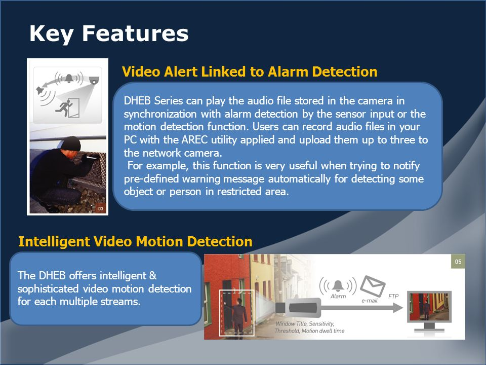 Key Features DHEB Series can play the audio file stored in the camera in synchronization with alarm detection by the sensor input or the motion detection function.