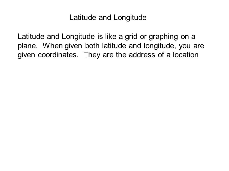 Homework Practicing Latitude and Longitude WS Look over your notes for our next class period.