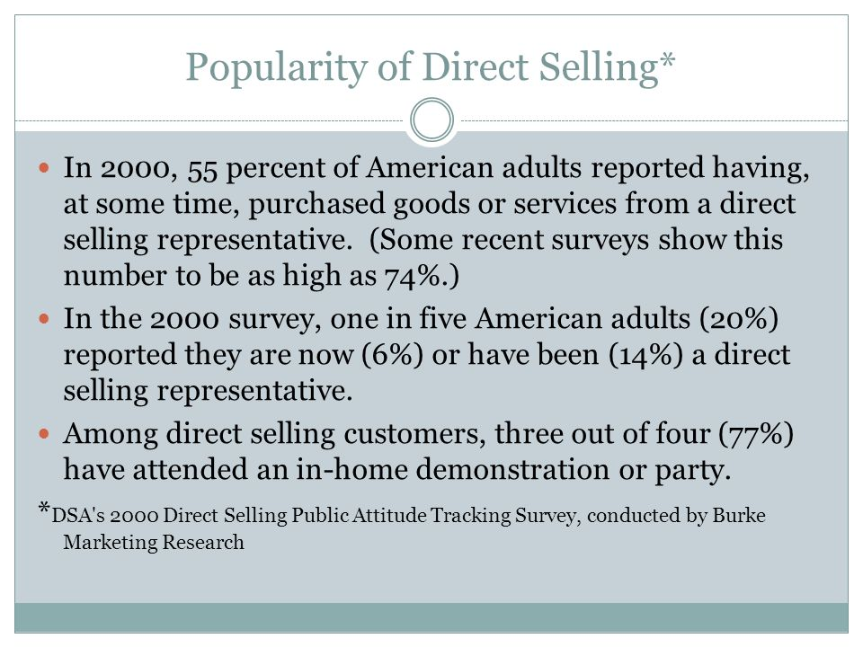 Popularity of Direct Selling* In 2000, 55 percent of American adults reported having, at some time, purchased goods or services from a direct selling representative.